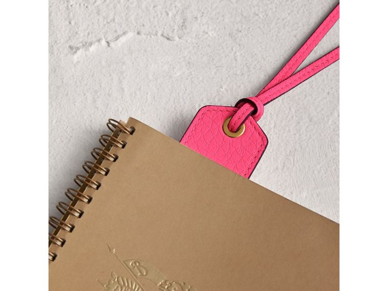 Embossed Leather Bookmark in Bright Pink | Burberry - cell image 1