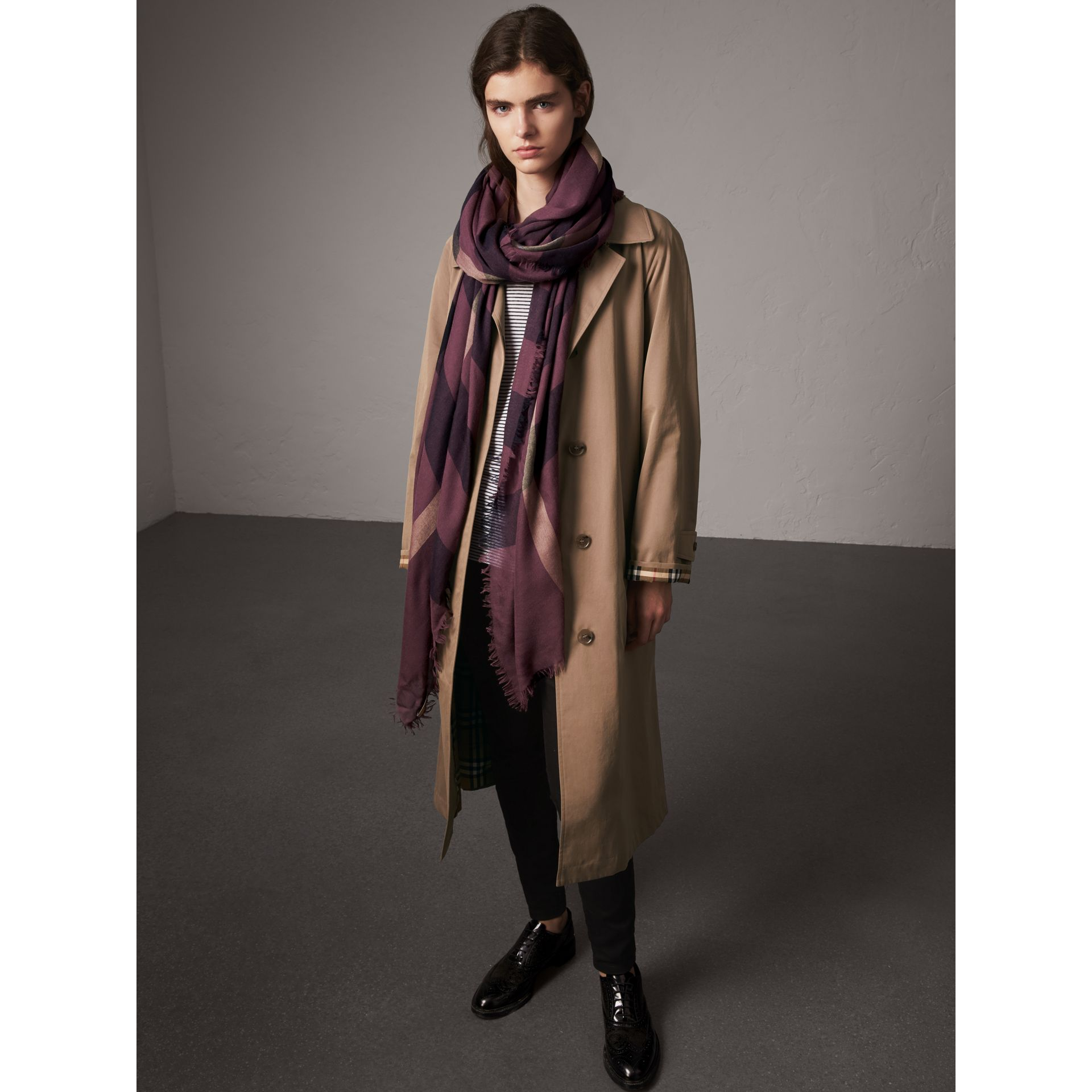 Check Modal Wool Scarf in Mauve Pink - Women | Burberry - gallery image 3