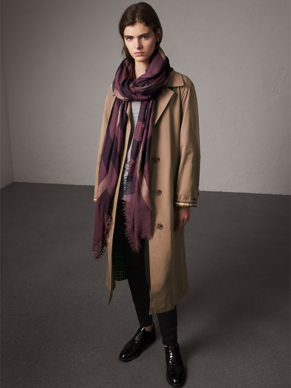 Check Modal Wool Scarf in Mauve Pink - Women | Burberry Canada - cell image 2