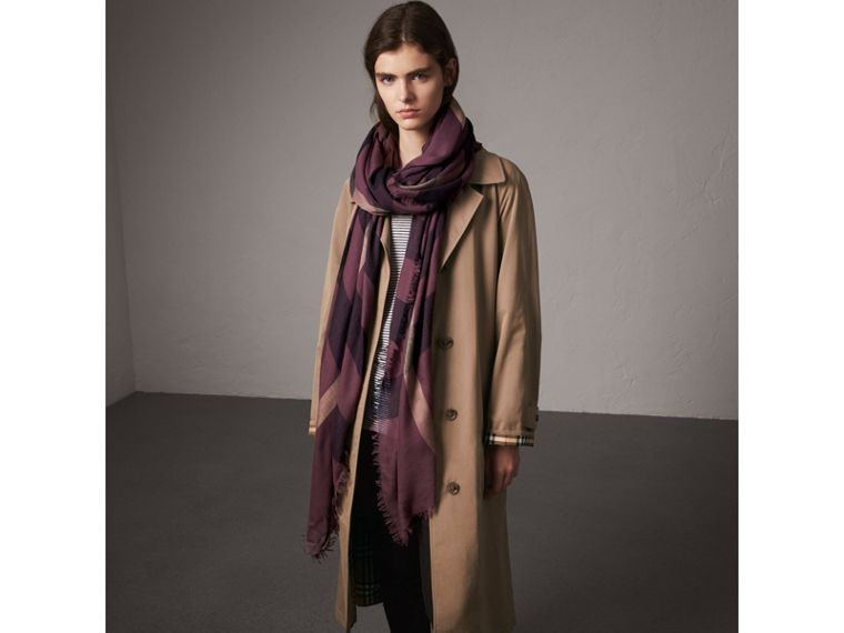 Check Modal Wool Scarf in Mauve Pink - Women | Burberry United Kingdom - cell image 2