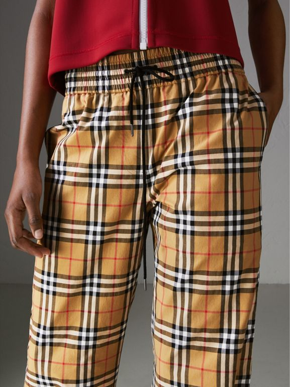 Vintage Check Drawcord Trousers in Antique Yellow - Women | Burberry Australia - cell image 1