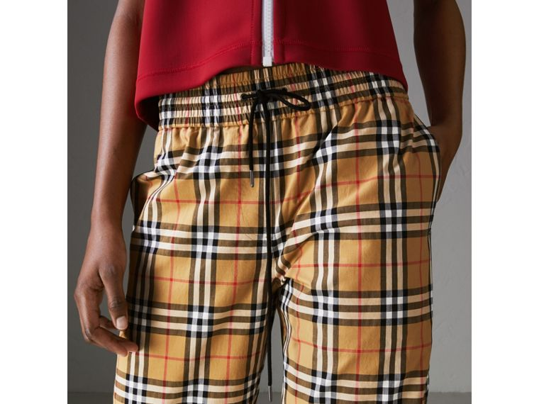 Vintage Check Drawcord Trousers in Antique Yellow - Women | Burberry Hong Kong - cell image 1