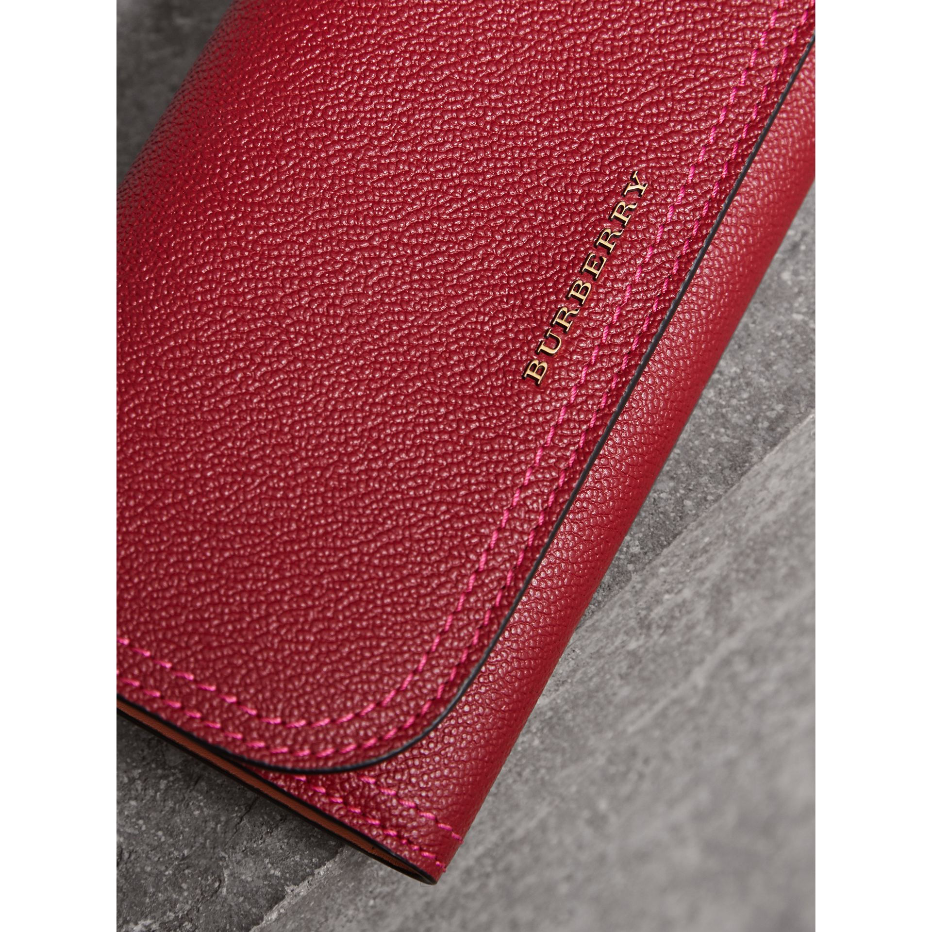 Colour Block Continental Wallet and Coin Case in Parade Red/multicolour - Women | Burberry - gallery image 1