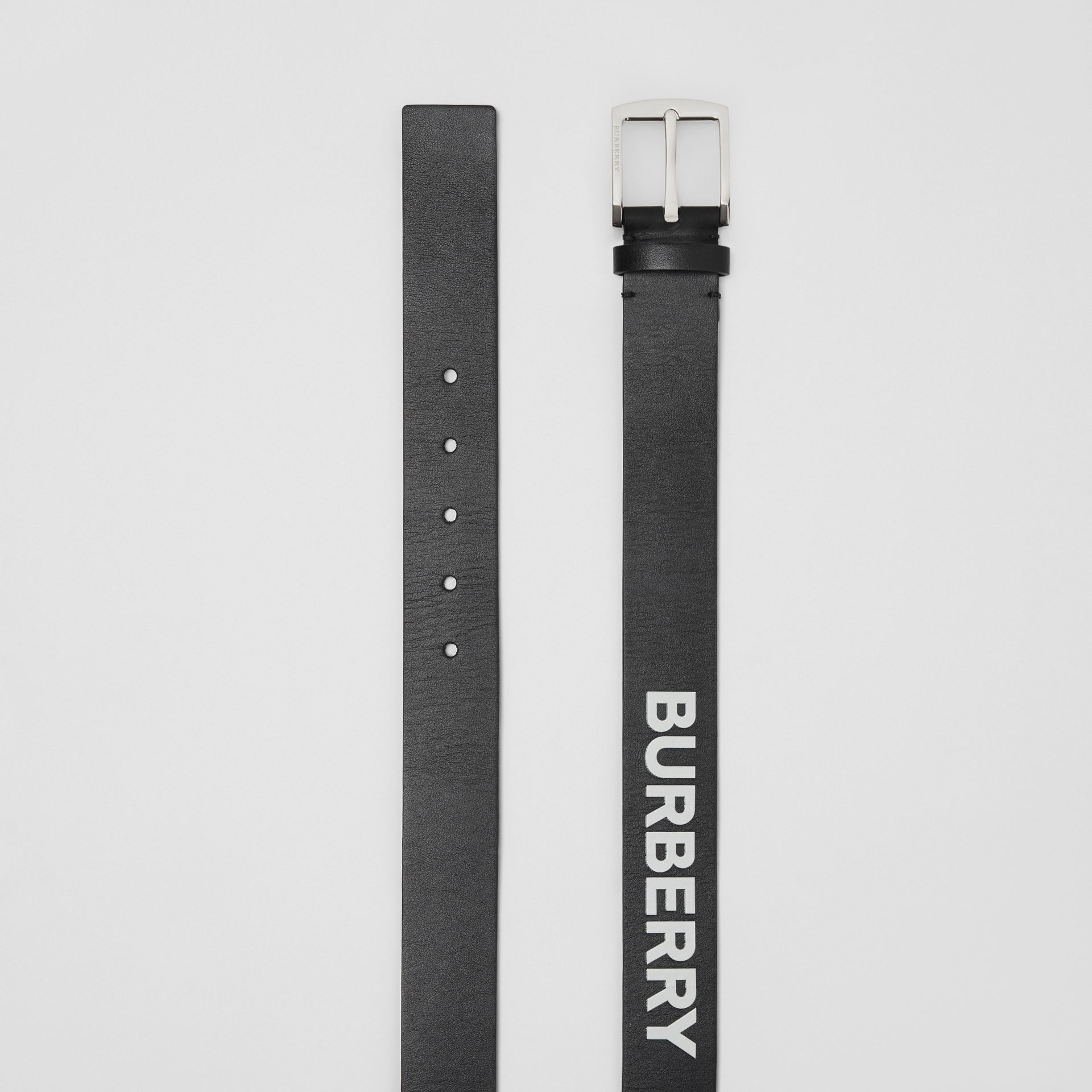 Kingdom Print Leather Belt in Black - Men | Burberry United Kingdom - gallery image 4