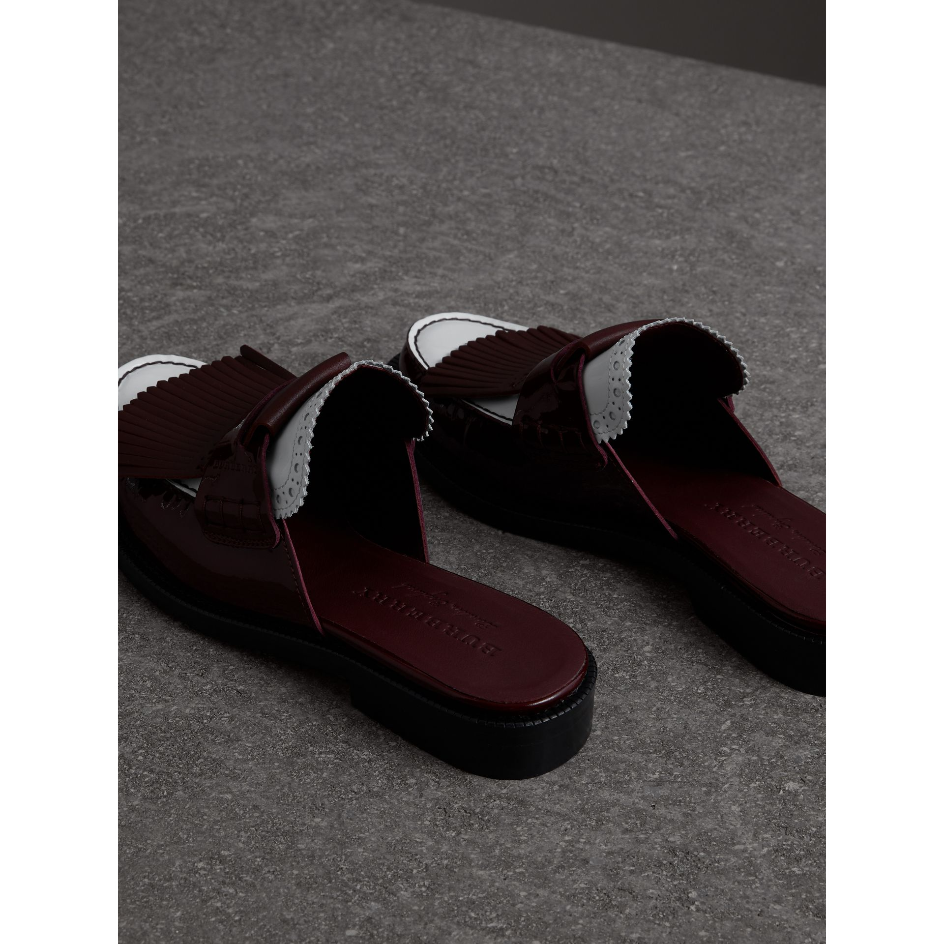 Tri-tone Kiltie Fringe Leather Mules in Burgundy Red - Women | Burberry Singapore - gallery image 3