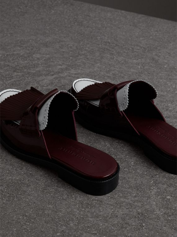Tri-tone Kiltie Fringe Leather Mules in Burgundy Red - Women | Burberry - cell image 3