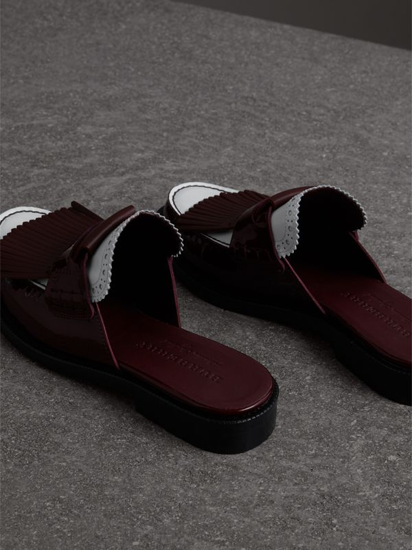 Tri-tone Kiltie Fringe Leather Mules in Burgundy Red - Women | Burberry Singapore - cell image 3