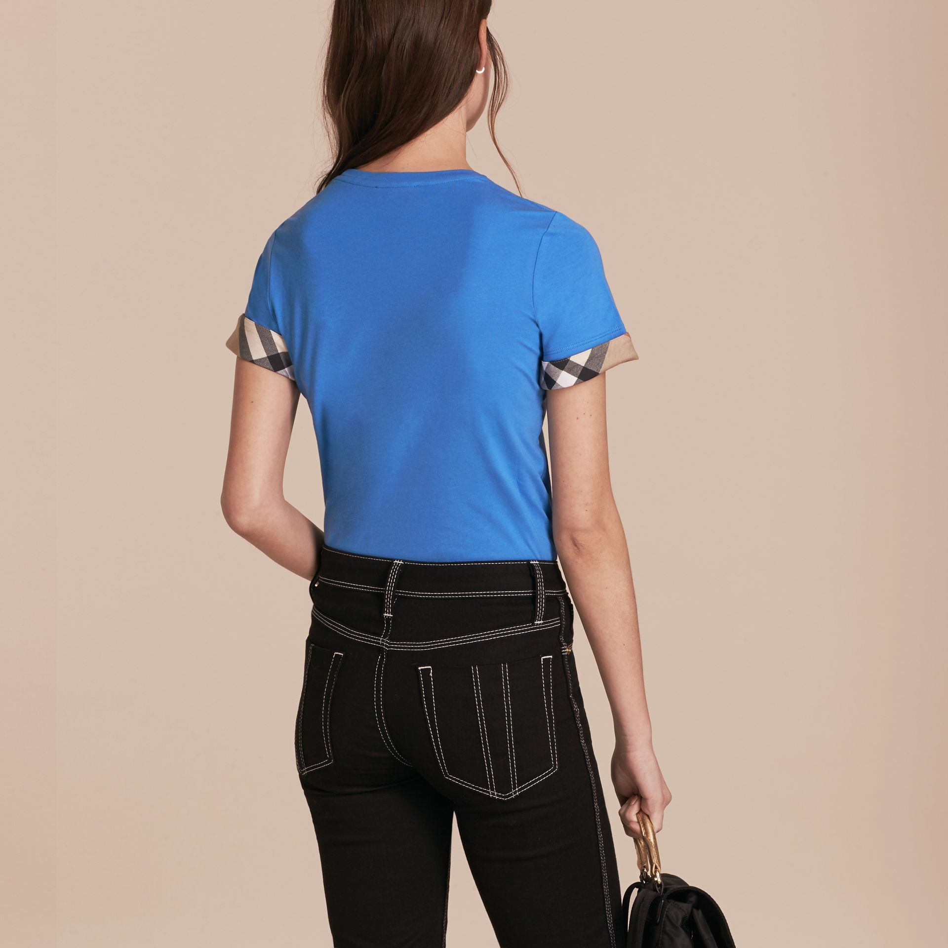 Check Trim Stretch Cotton T-shirt in Bright Hydrangea Blue - gallery image 3