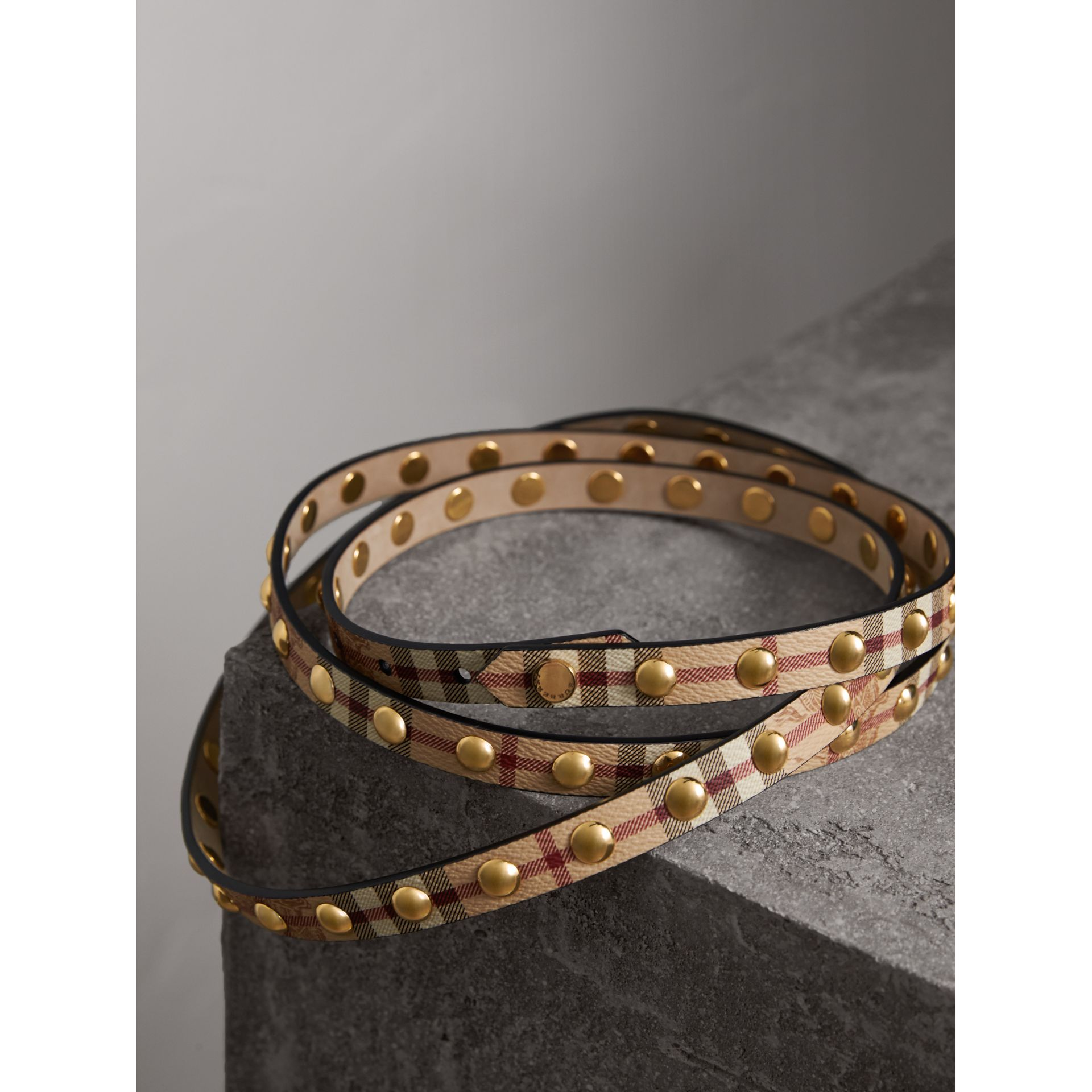 Studded Haymarket Check Double-wrap Belt - Women | Burberry - gallery image 3