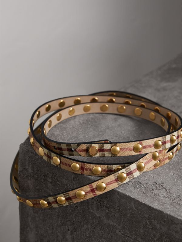 Studded Haymarket Check Double-wrap Belt - Women | Burberry - cell image 3