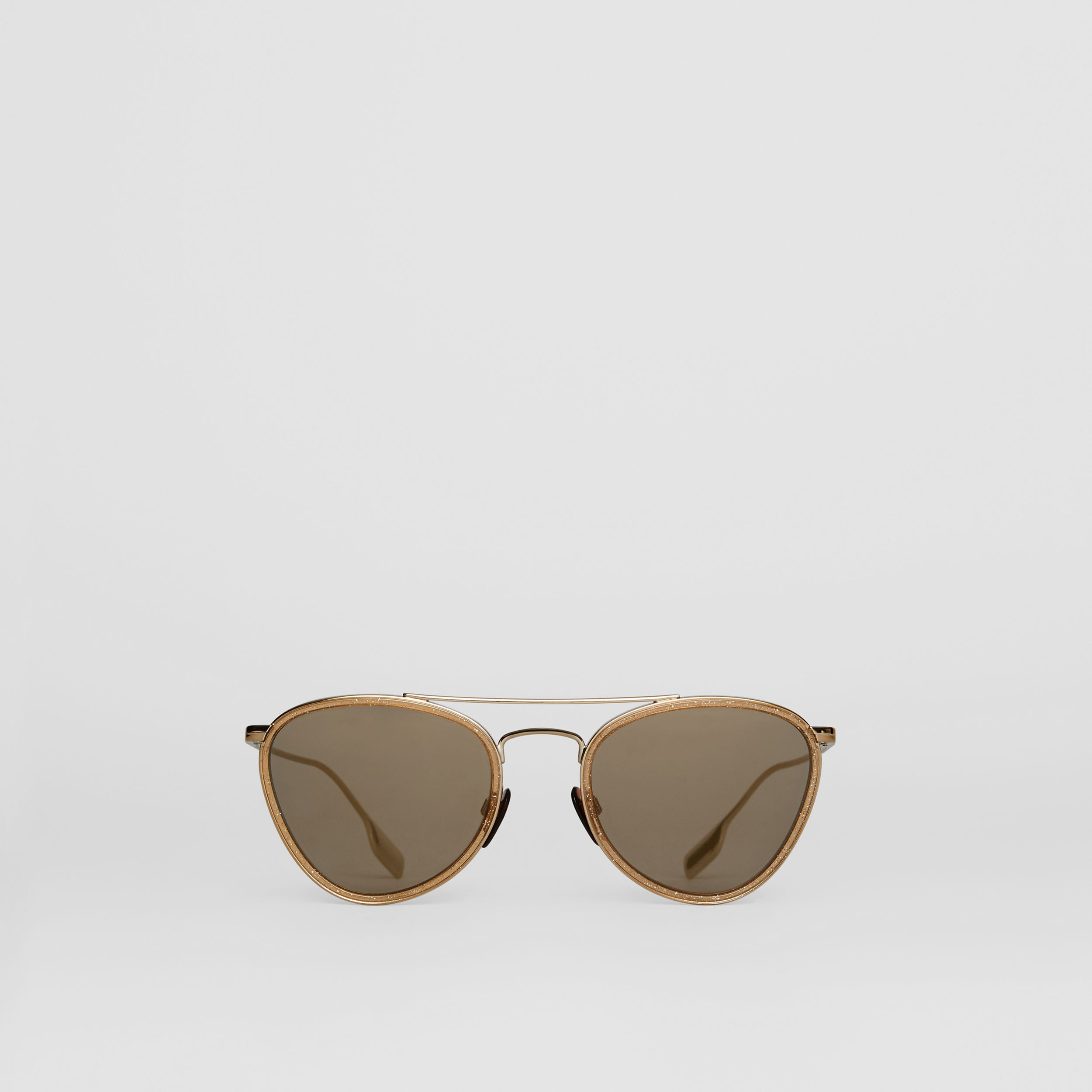 Glitter Detail Pilot Sunglasses in Gold - Women | Burberry - 1