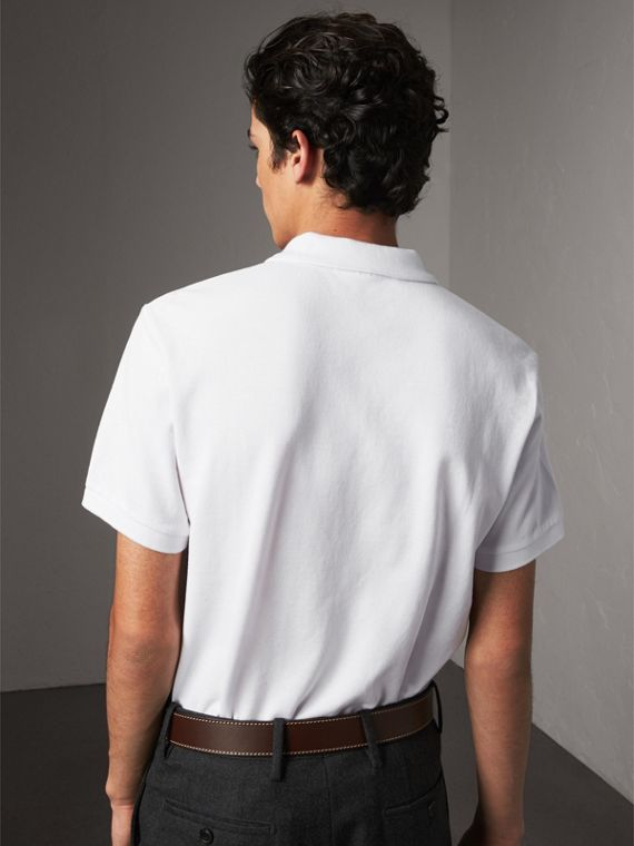 Tartan Trim Cotton Piqué Polo Shirt in White - Men | Burberry - cell image 2