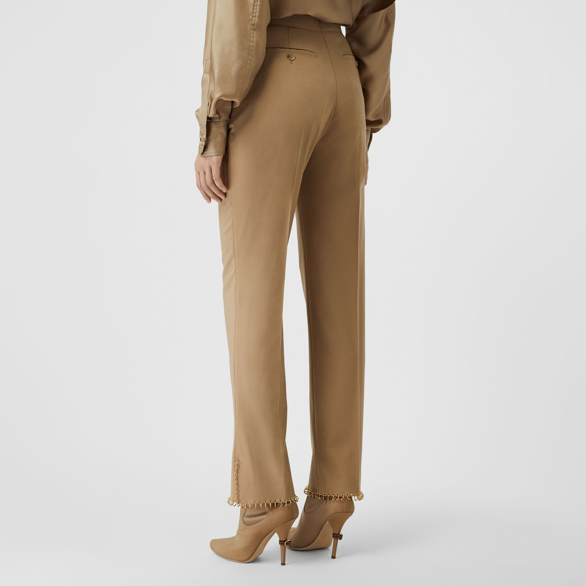 Ring Pierced Wool Trousers in Honey - Women | Burberry - gallery image 2