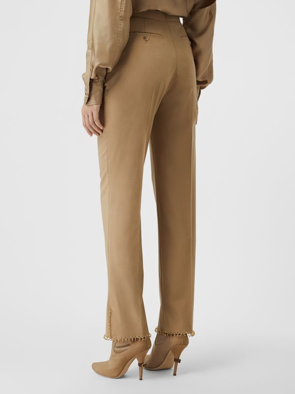 Ring Pierced Wool Trousers in Honey - Women | Burberry - cell image 2