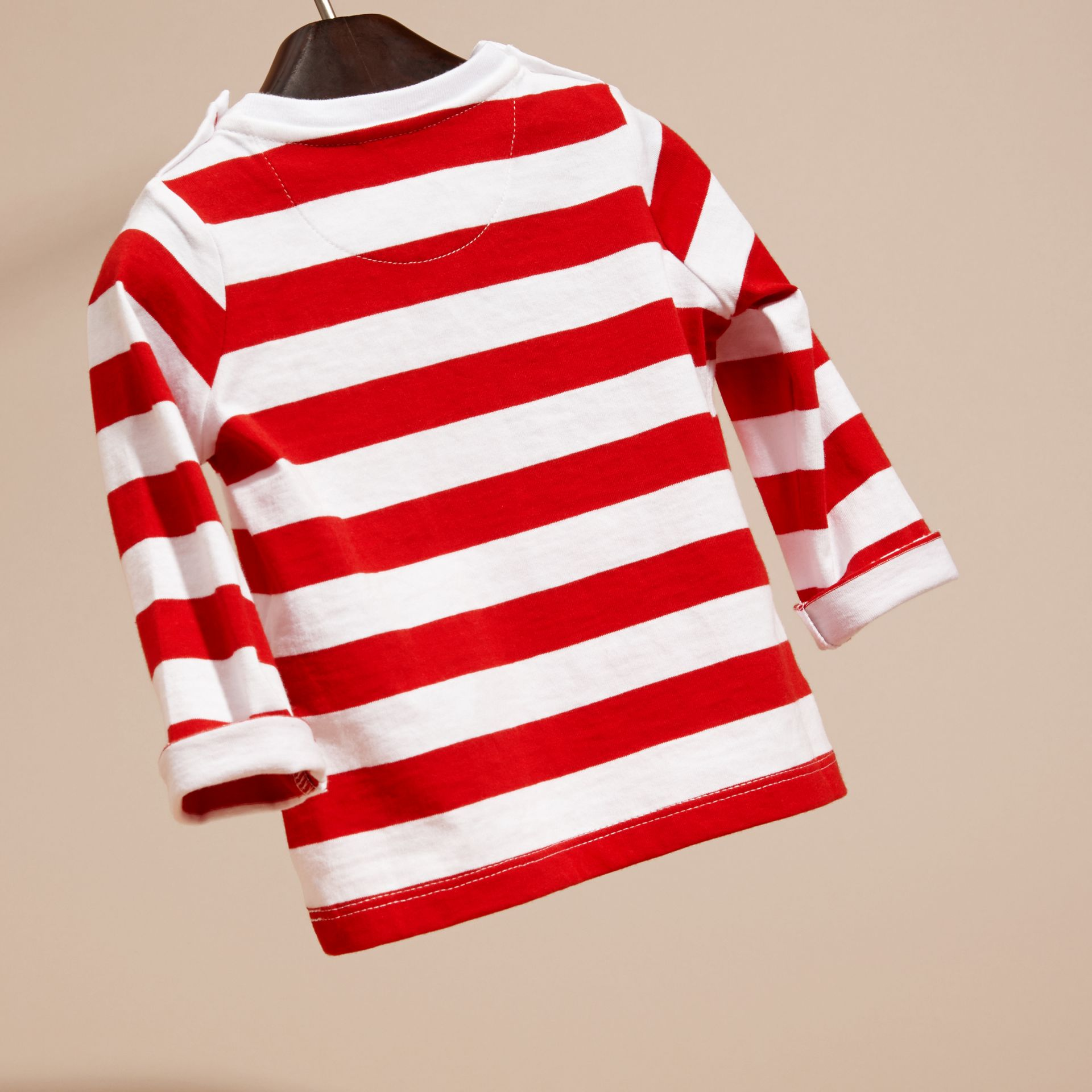Parade red Long-sleeved Use Your Head Graphic Cotton T-shirt - gallery image 4