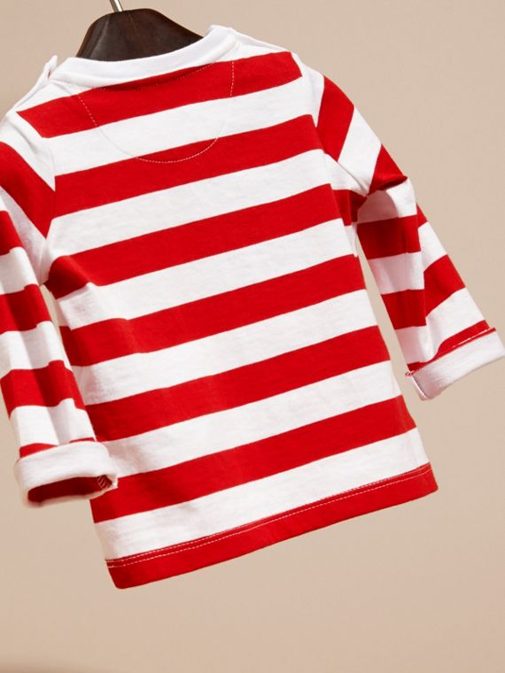 Parade red Long-sleeved Use Your Head Graphic Cotton T-shirt - cell image 3