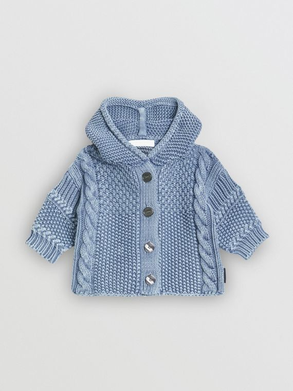 Contrast Knit Cotton Hooded Jacket in Dusty Blue