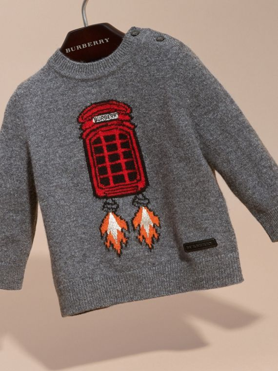 Mid grey melange Rocket Intarsia Cashmere Sweater - cell image 2