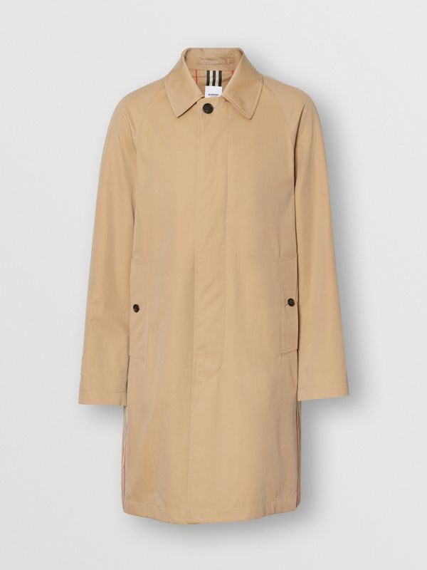 Icon Stripe Detail Tropical Gabardine Car Coat in Honey - Men | Burberry - cell image 3