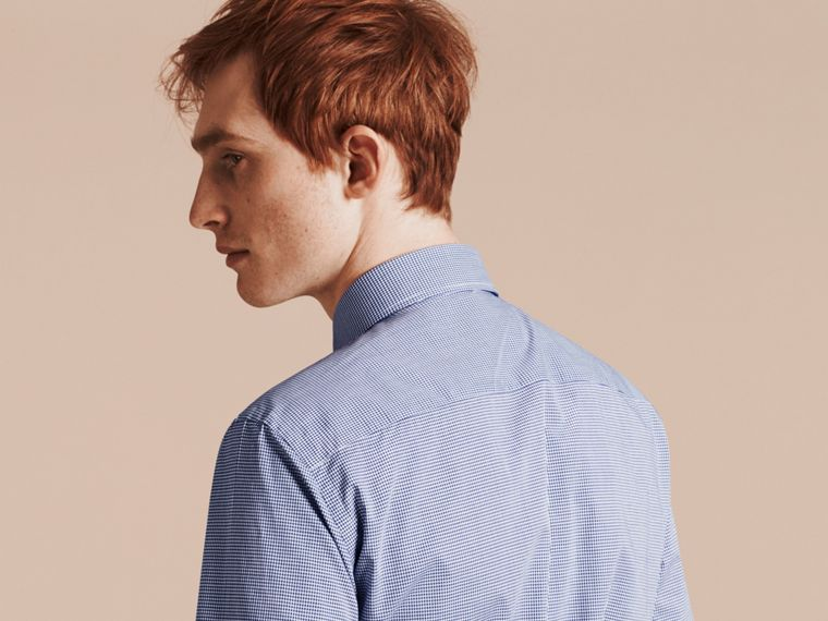 Slim Fit Gingham Cotton Poplin Shirt in Dark Empire Blue - Men | Burberry - cell image 4