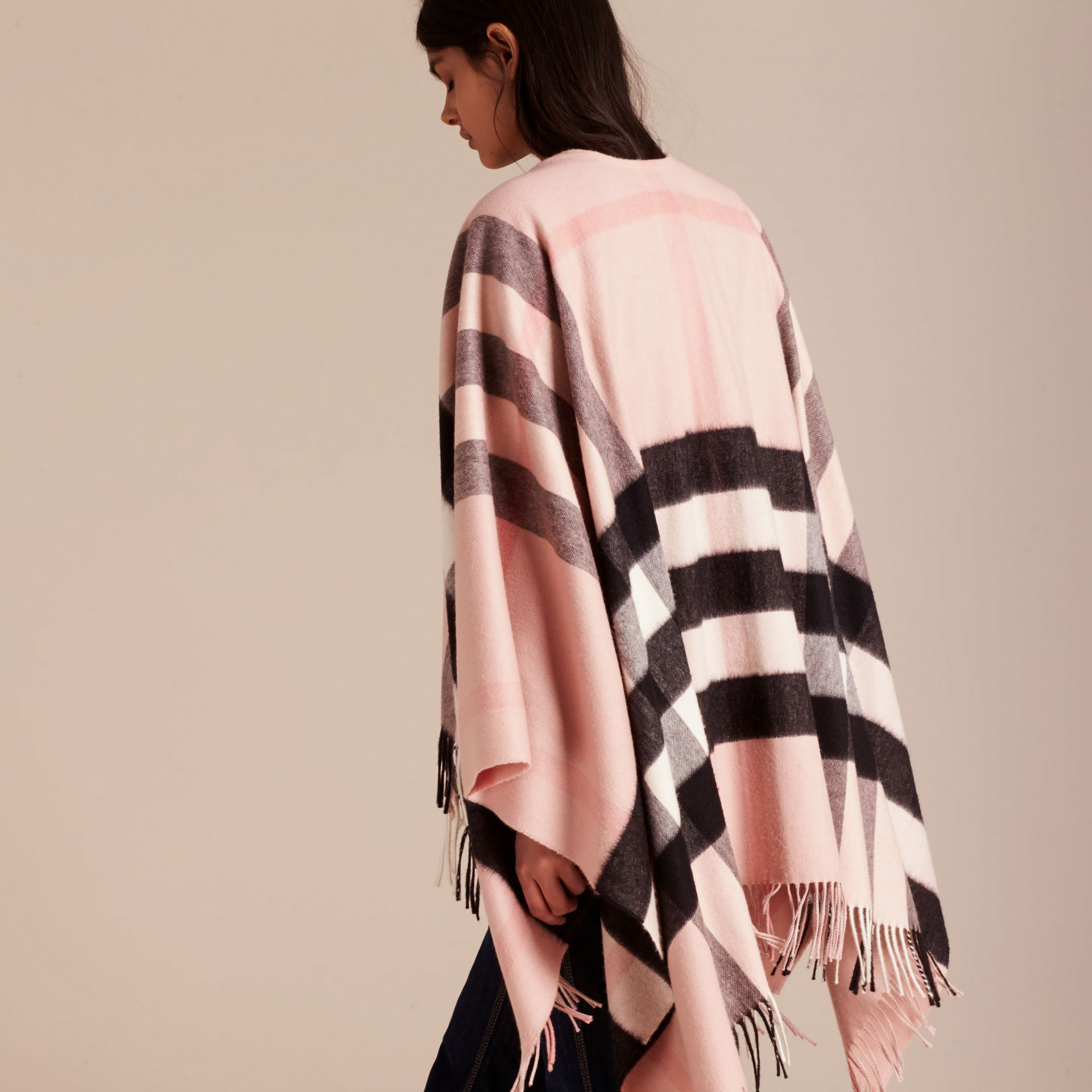 Ash rose Check Cashmere and Wool Poncho Rose - gallery image 7