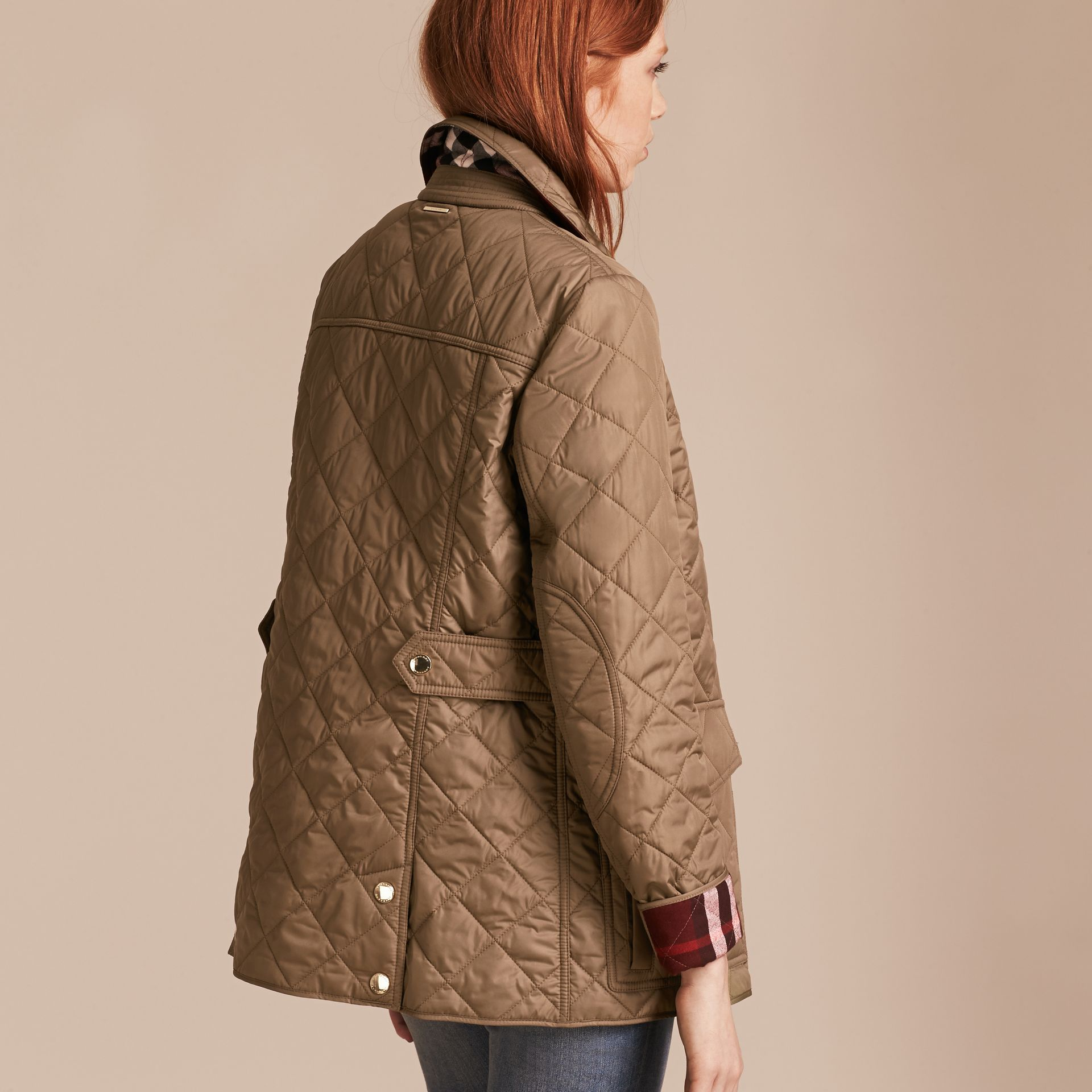 Mid taupe Check Lined Diamond Quilted Jacket Mid Taupe - gallery image 3