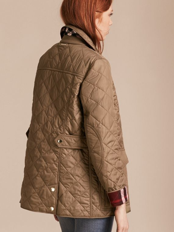 Mid taupe Check Lined Diamond Quilted Jacket Mid Taupe - cell image 2