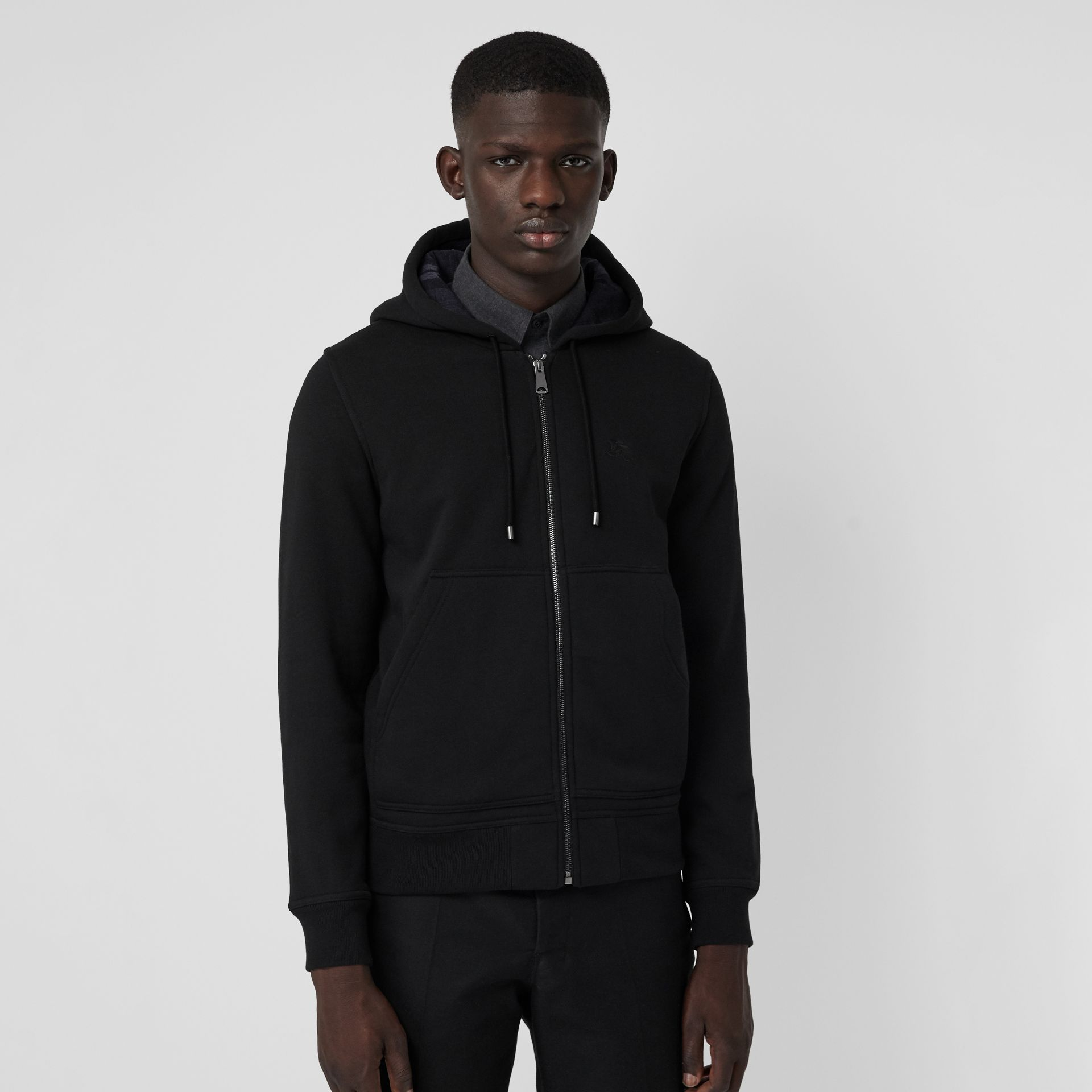 Check Detail Jersey Hooded Top in Black - Men | Burberry - gallery image 4