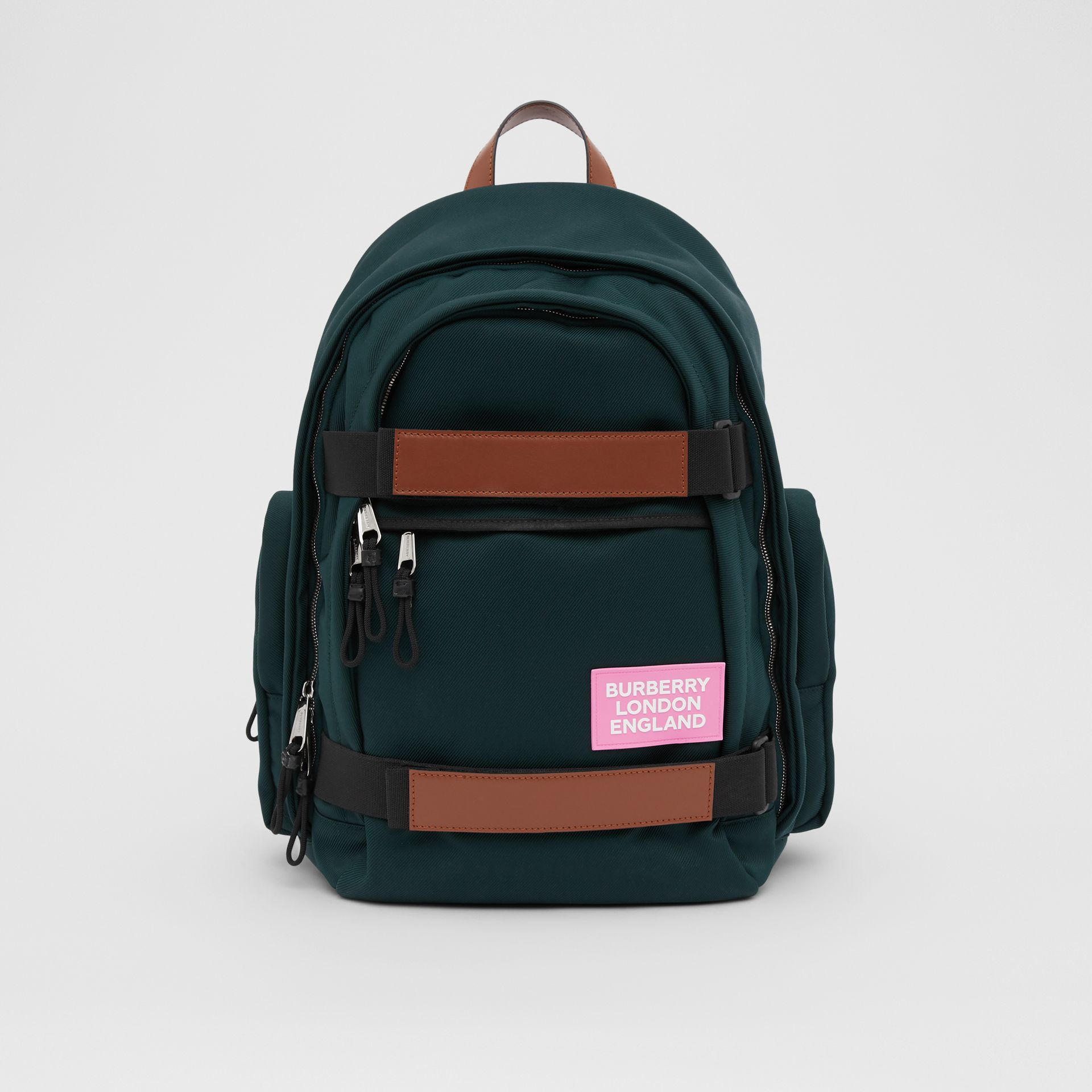 Large Leather Trim Nylon Nevis Backpack in Dark Pine Green | Burberry United Kingdom - gallery image 0