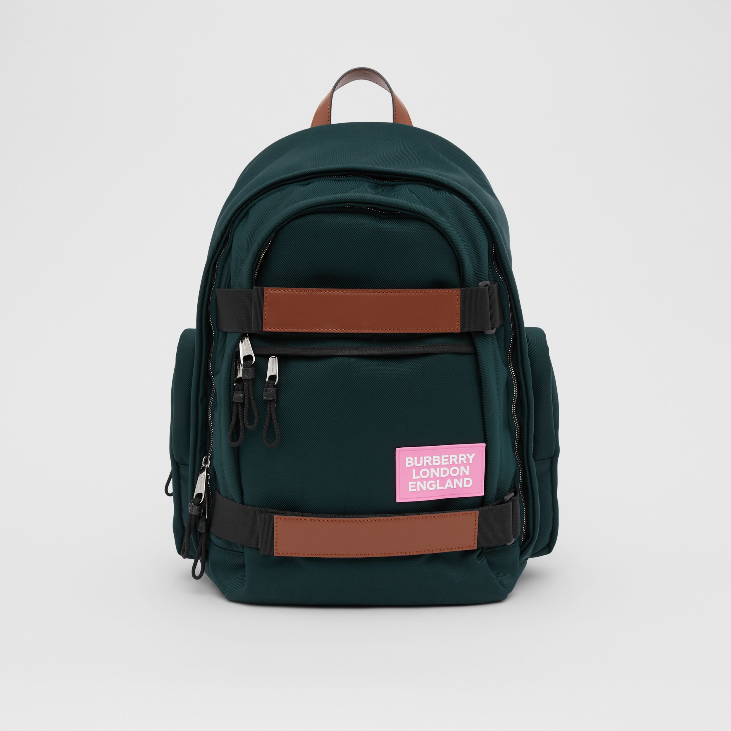 Large Leather Trim Nylon Nevis Backpack in Dark Pine Green | Burberry - 1