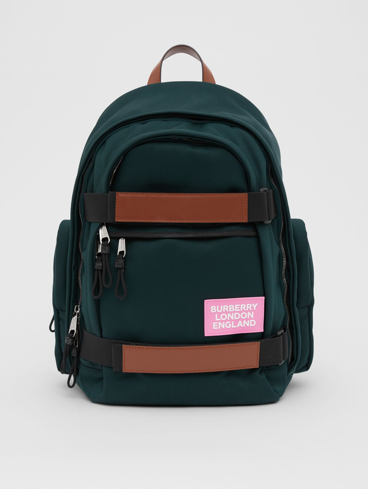 Large Leather Trim Nylon Nevis Backpack in Dark Pine Green