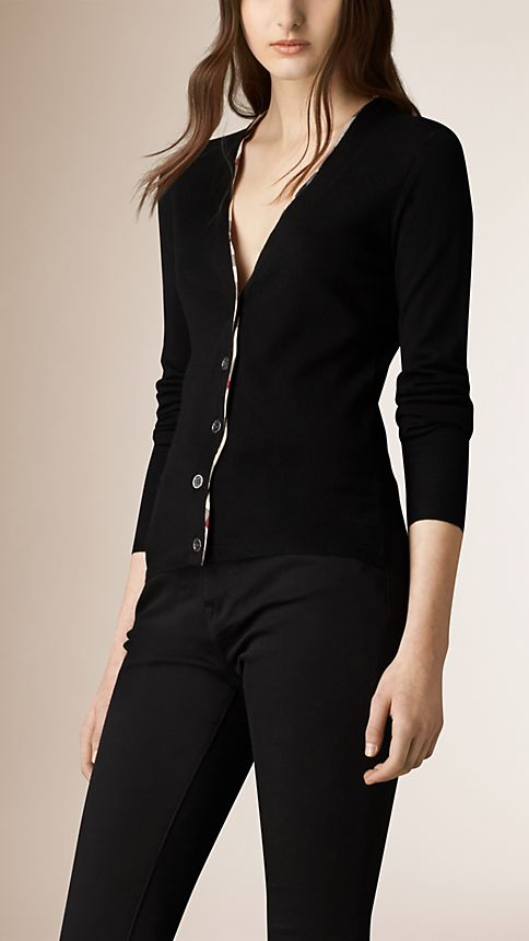 Black Check Placket Merino Wool Cardigan - Image 1