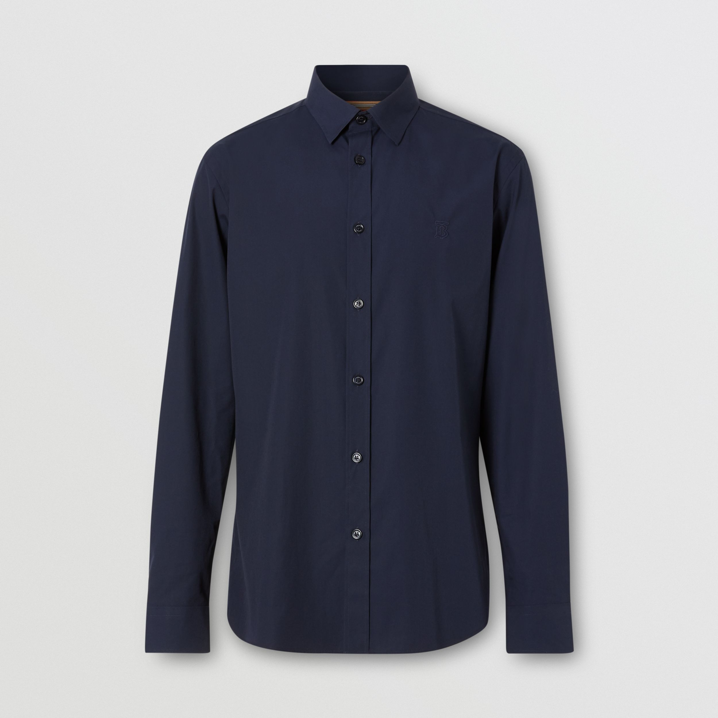 Monogram Motif Stretch Cotton Poplin Shirt in Navy - Men | Burberry United Kingdom - 4