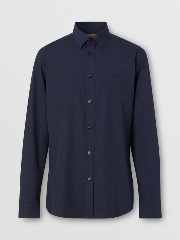 Monogram Motif Stretch Cotton Poplin Shirt in Navy - Men | Burberry - cell image 3