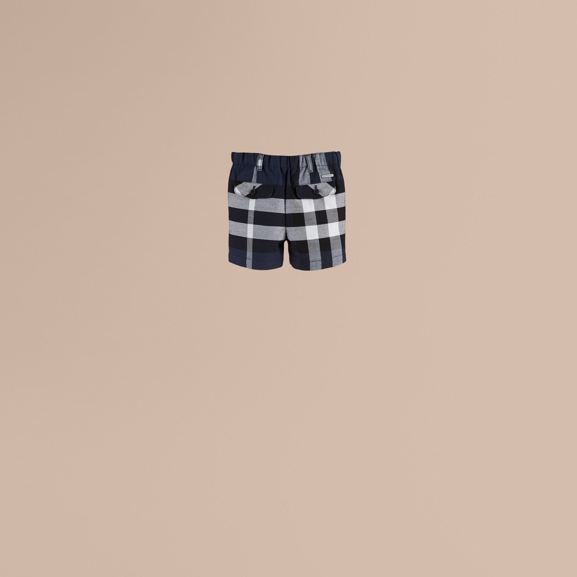 Navy Check Cotton Shorts Navy - gallery image 2
