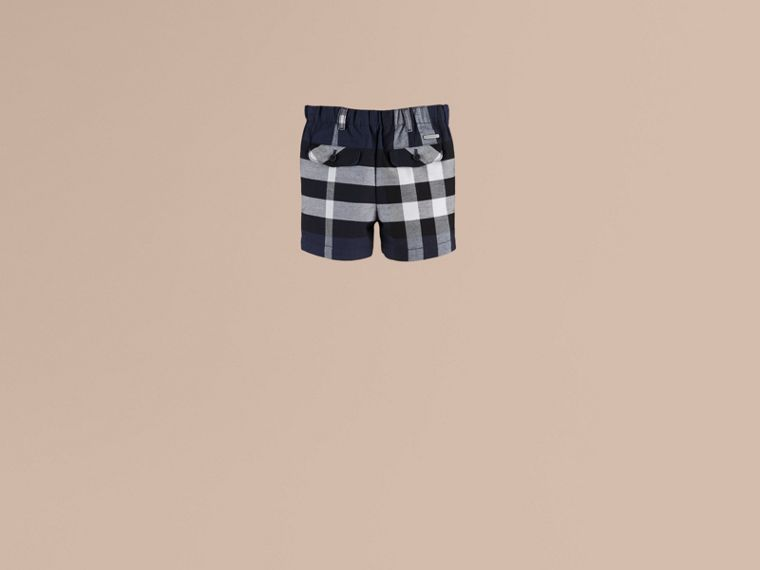 Check Cotton Chino Shorts in Navy - cell image 1