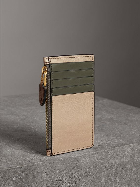 Two-tone Leather Card Case in Limestone | Burberry United States - cell image 2