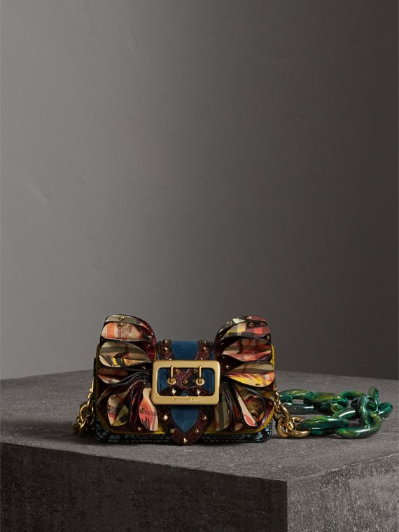 The Ruffle Buckle Bag in Snakeskin, Ostrich and Check in Larch Yellow