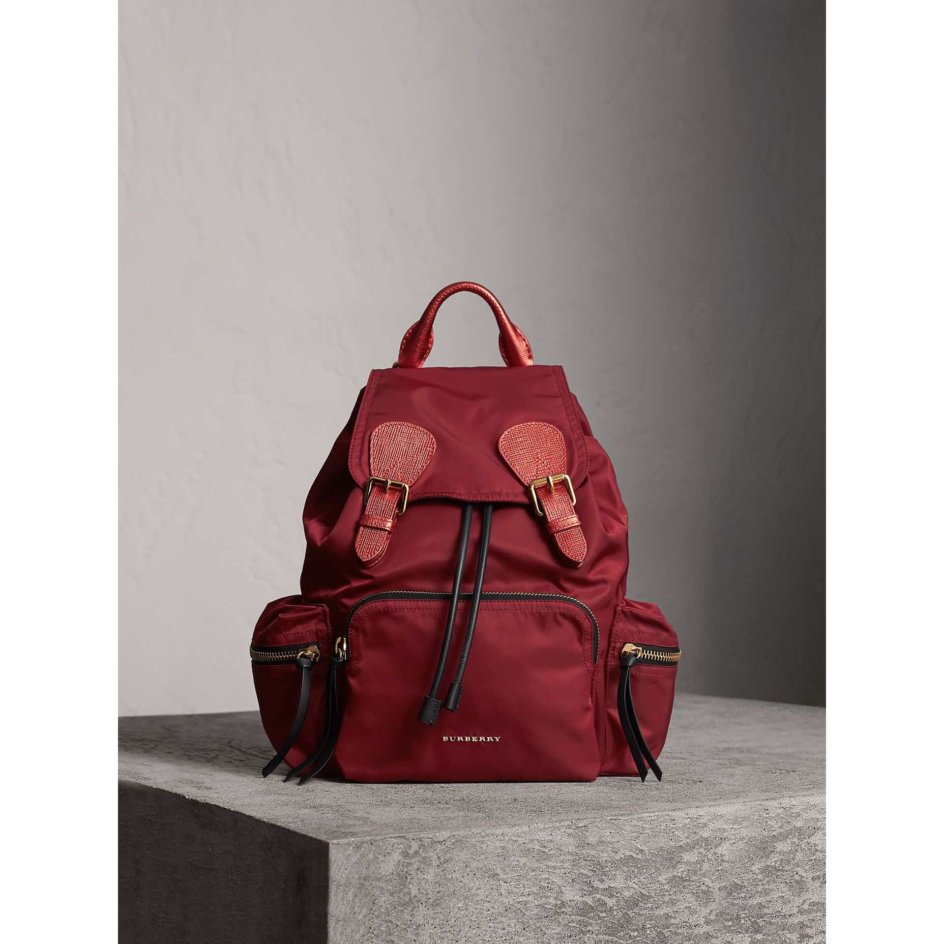 The Medium Rucksack in Technical Nylon and Leather in Crimson Red - Women | Burberry Australia - gallery image 1