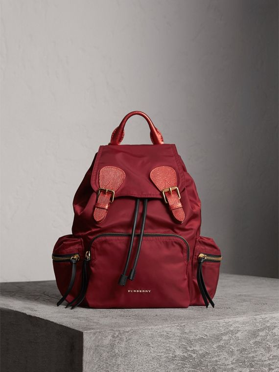 The Medium Rucksack in Technical Nylon and Leather in Crimson Red - Women | Burberry