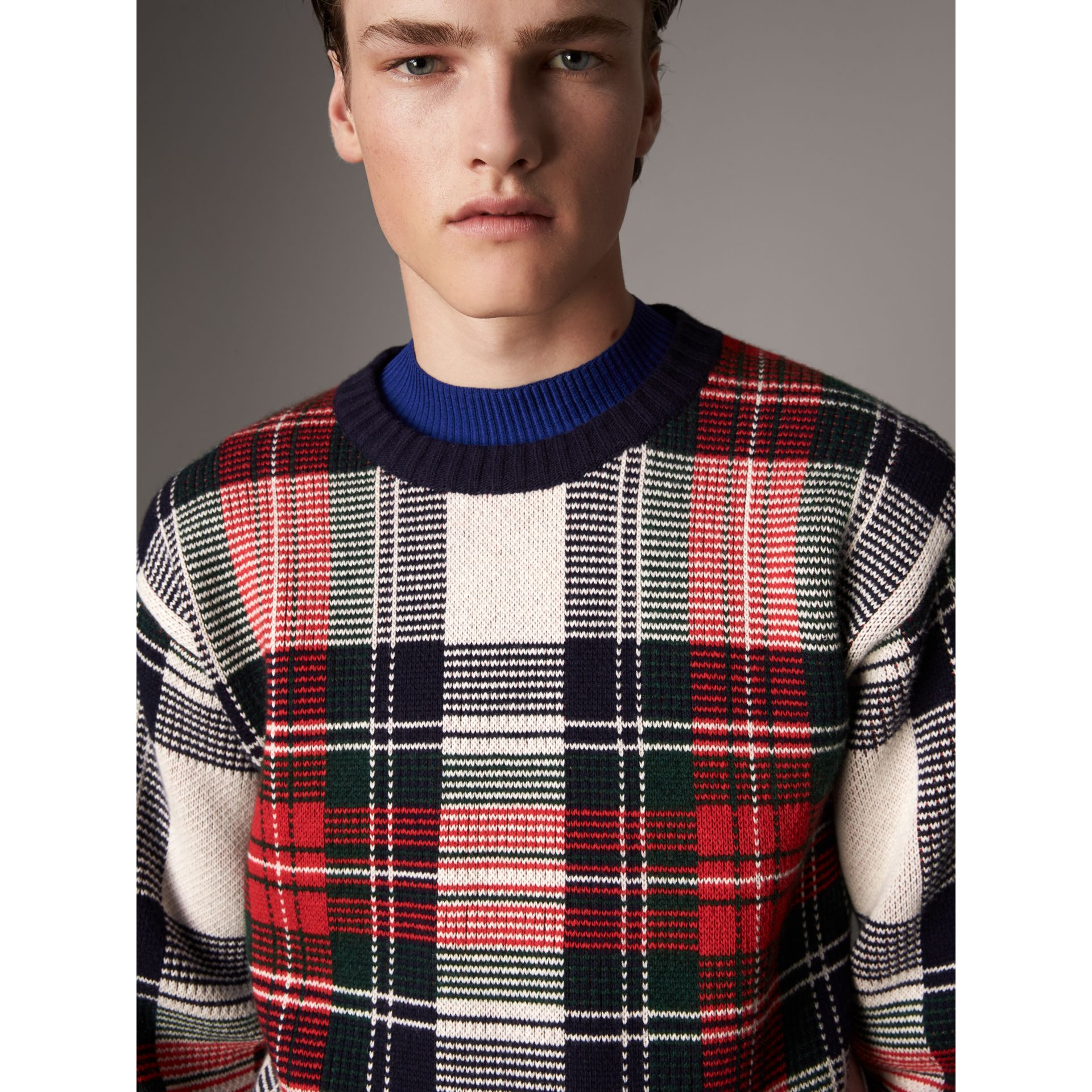 Tartan Cashmere Wool Sweater in Natural White - Men | Burberry Hong Kong - gallery image 1
