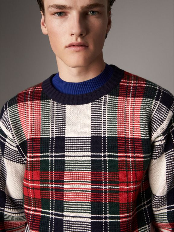 Tartan Cashmere Wool Sweater in Natural White - Men | Burberry United Kingdom - cell image 1