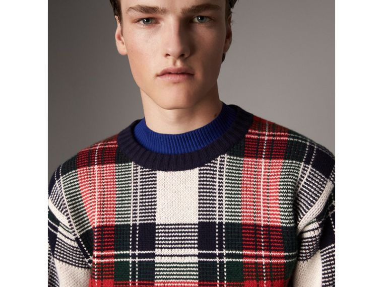 Tartan Cashmere Wool Sweater in Natural White - Men | Burberry Hong Kong - cell image 1