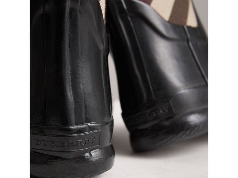 House Check Panel Rain Boots in Black | Burberry Canada - cell image 1
