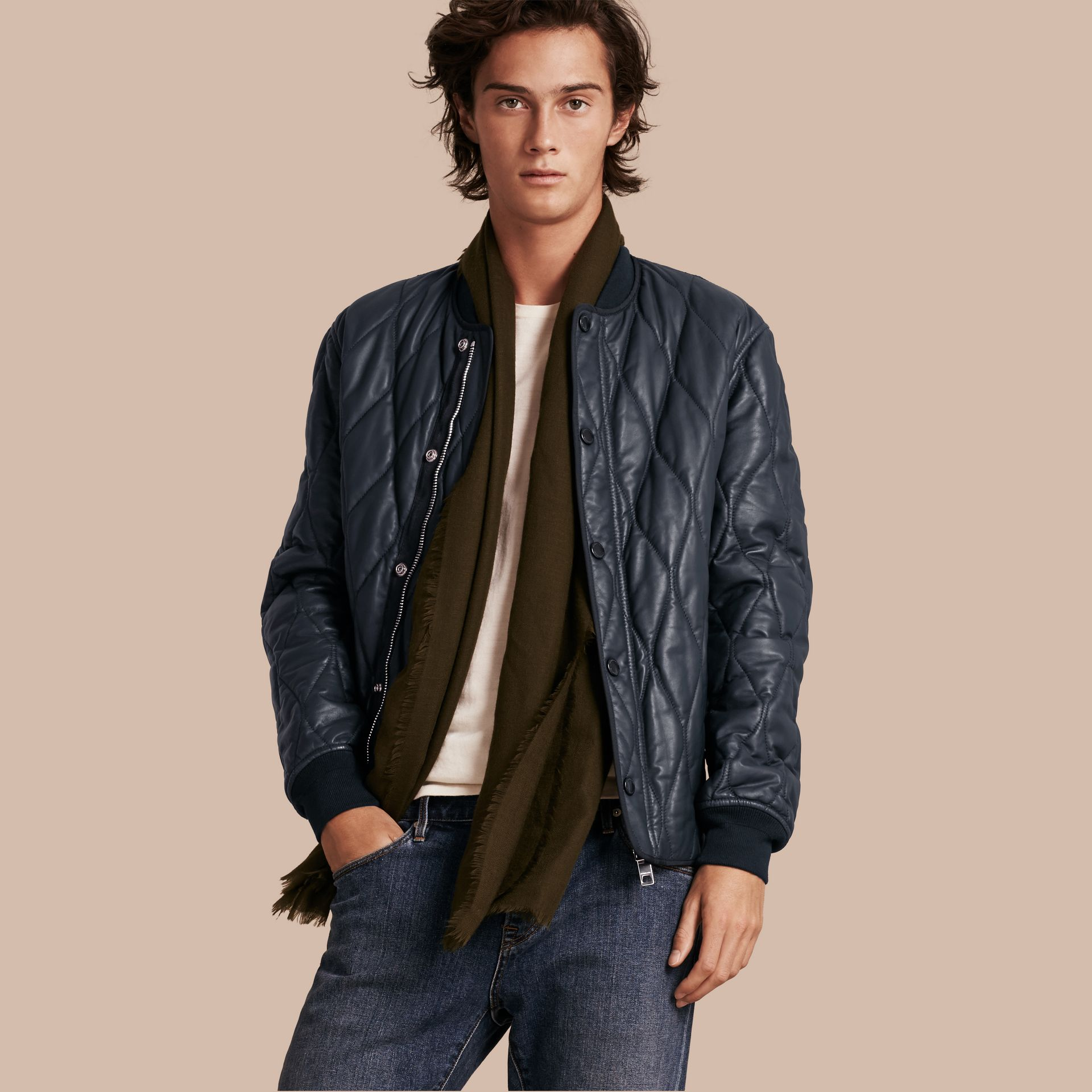 Navy Quilted Lambskin Jacket - gallery image 1