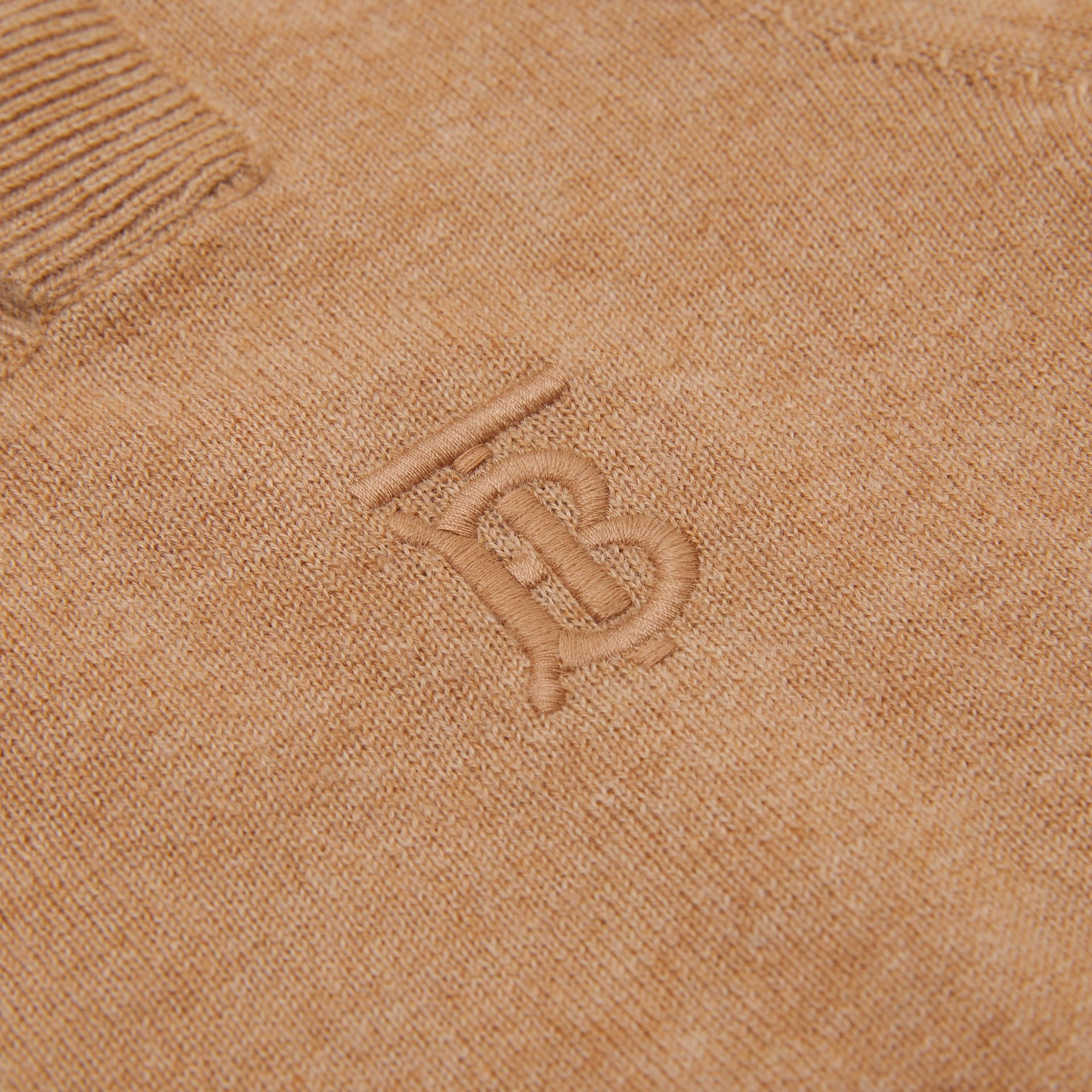 Monogram Motif Cashmere Sweater in Camel | Burberry - gallery image 1
