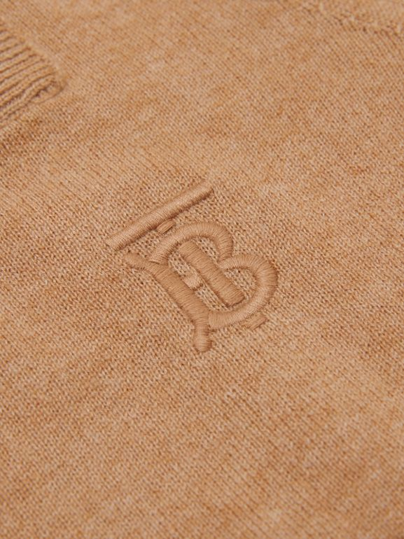 Monogram Motif Cashmere Sweater in Camel | Burberry Australia - cell image 1
