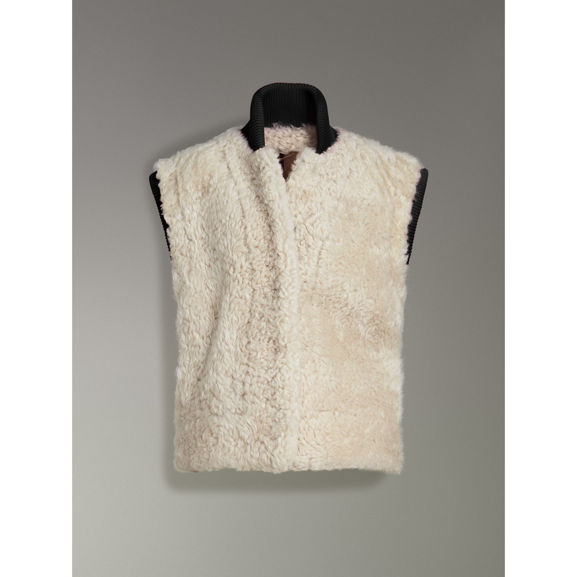Two-tone Rib Knit Trim Shearling Gilet in Natural White - Women | Burberry - gallery image 3