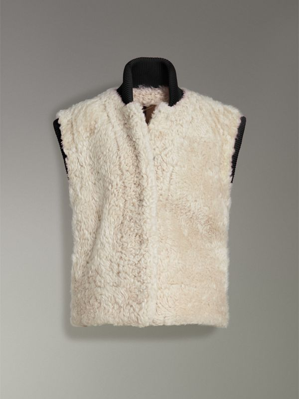 Two-tone Rib Knit Trim Shearling Gilet in Natural White - Women | Burberry - cell image 3