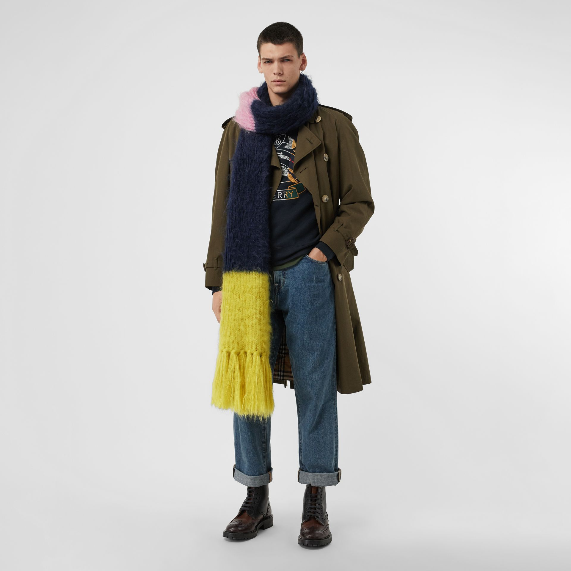 Colour Block Mohair Silk Oversized Scarf in Ink Blue - Women | Burberry - gallery image 3